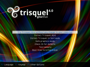 Boot menu in Trisquel Mini installation CD